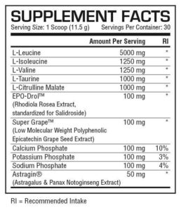 BCAA Sensation Supplement Facts