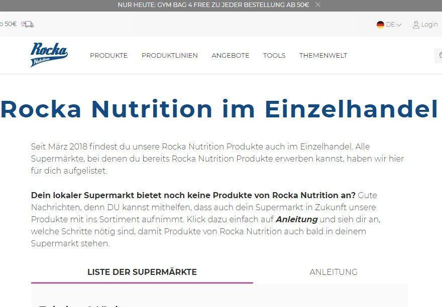Rocka Nutrition im Einzelhandel