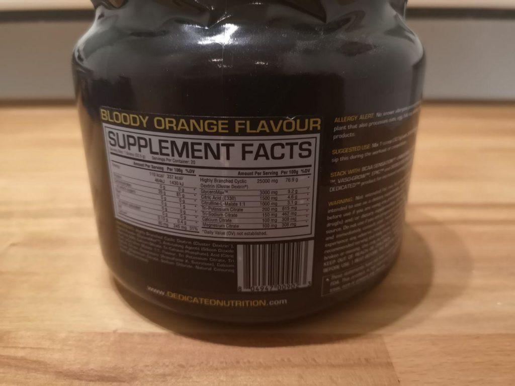 Supplement Facts auf der Dose von Dedicated Intra