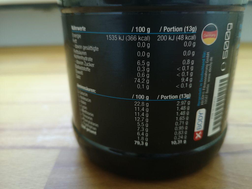 Nährwerte und Zutaten XBODY EAA Amino Power Drink